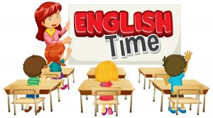 Font design for word english time with teacher and students in class illustration