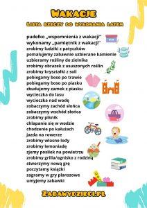 wakacyjna lista